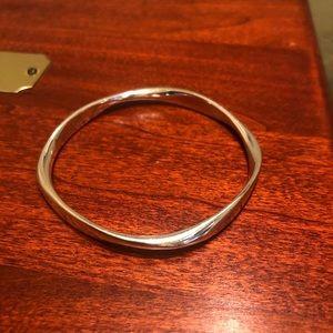 Rare Pandora Liquid Silver Wave Bangle Bracelet